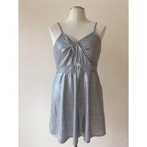 Metallic Silver Cut Out Mini Dress